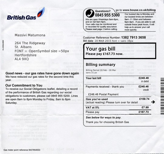 Random Darknet Shopper - British Gas Bill