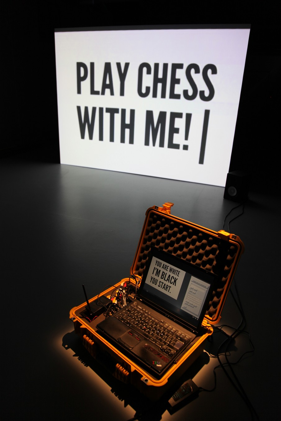 !Mediengruppe Bitnik - Installation View of Surveillance Chess at La Gaité Lyrique Paris, 2012