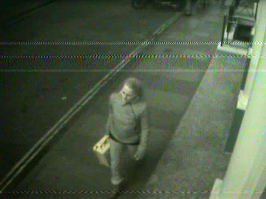 !Mediengruppe Bitnik - Still from Surveillance Chess showing Bitnik with yellow suitcase on street in London