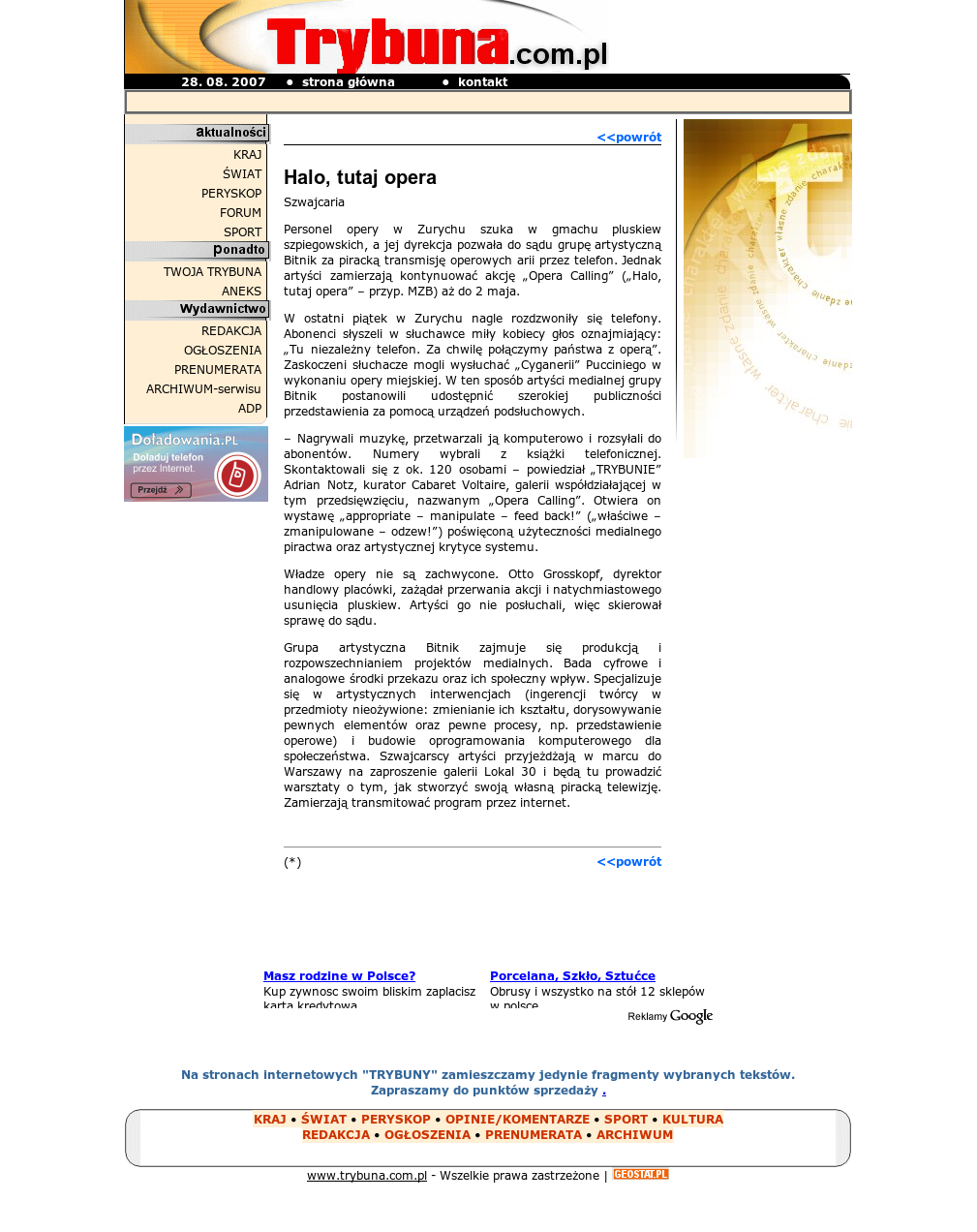 Screenshot of Trybuna Poland - Article on Opera Calling