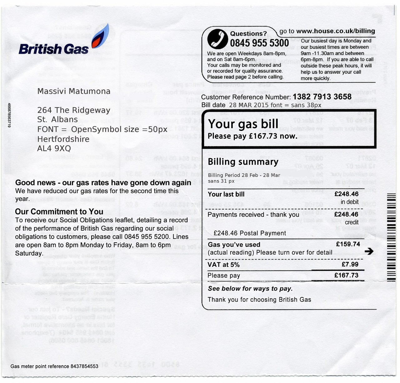 Mediengruppe Bitnik | Random Darknet Shopper | British Gas Bill