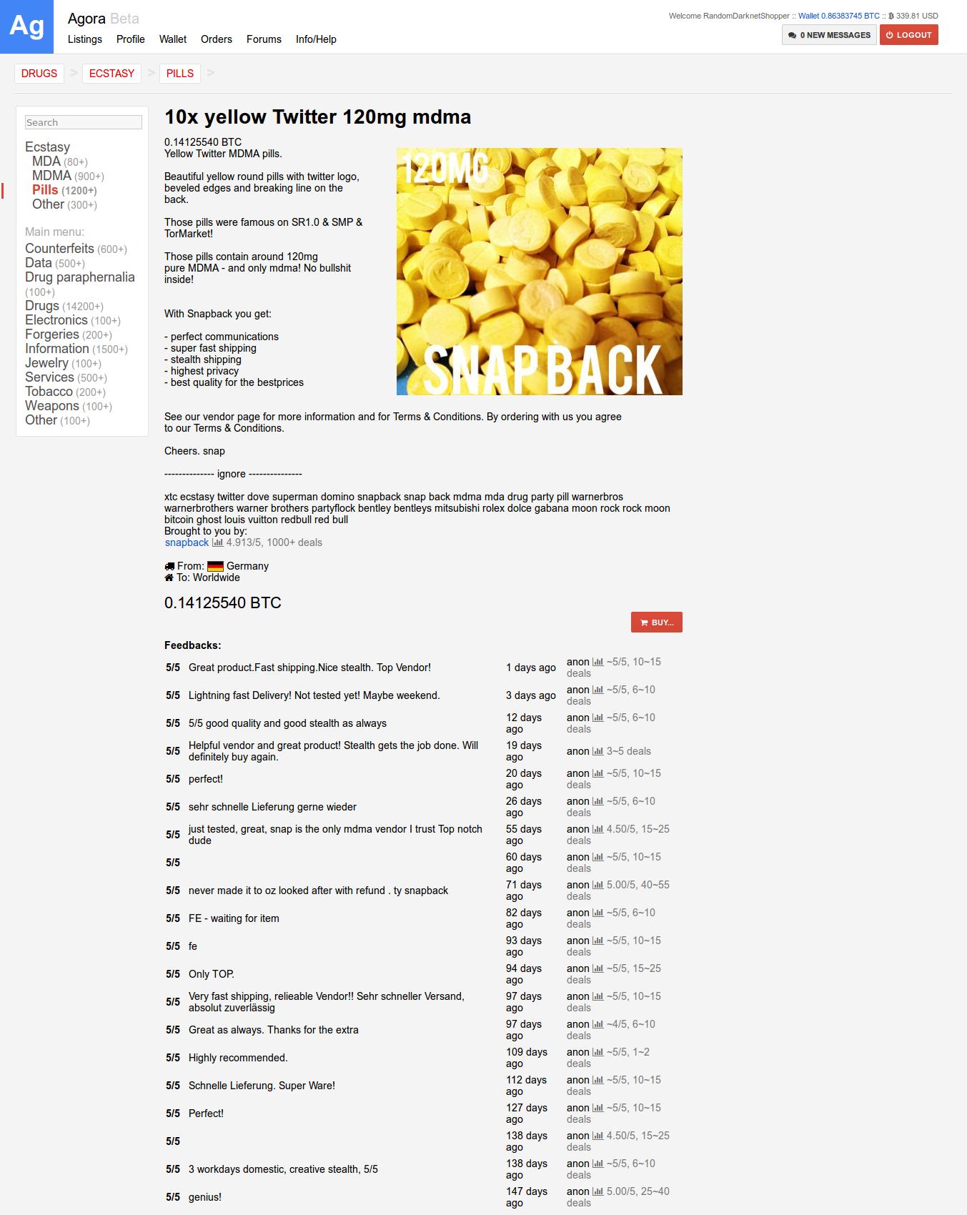 Mengruppe Bitnik | Random Darknet Shopper | Ecstasy 10x yellow ...