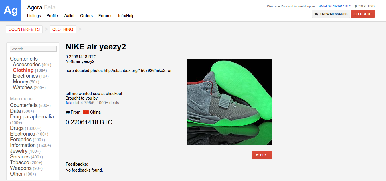 7a983db09bd4 NIKE Air Yeezy 2. Ordered by Random Darknet Shopper (5 Nov 14) for  0.22061418 Bitcoins Status  Arrived (20 Nov 14) Shipped from China Item No.  7