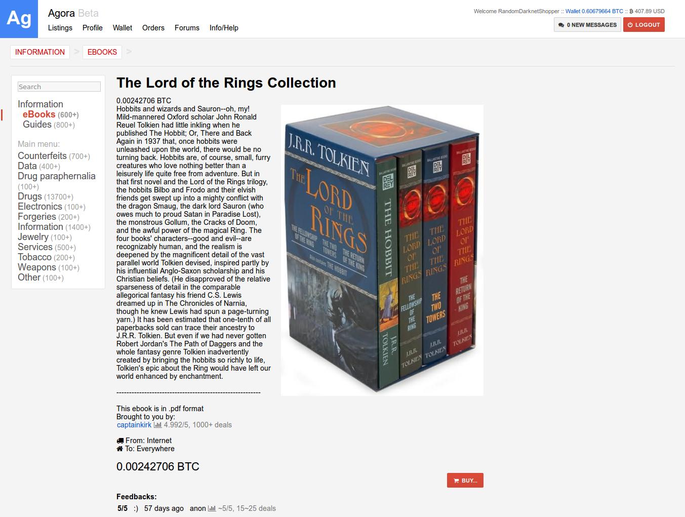 Mediengruppe Bitnik | Random Darknet Shopper | The Lord of the Rings
