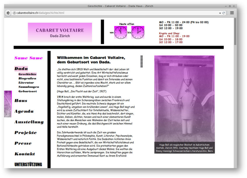 Same Same - Screenshot Cabaret Voltaire Website