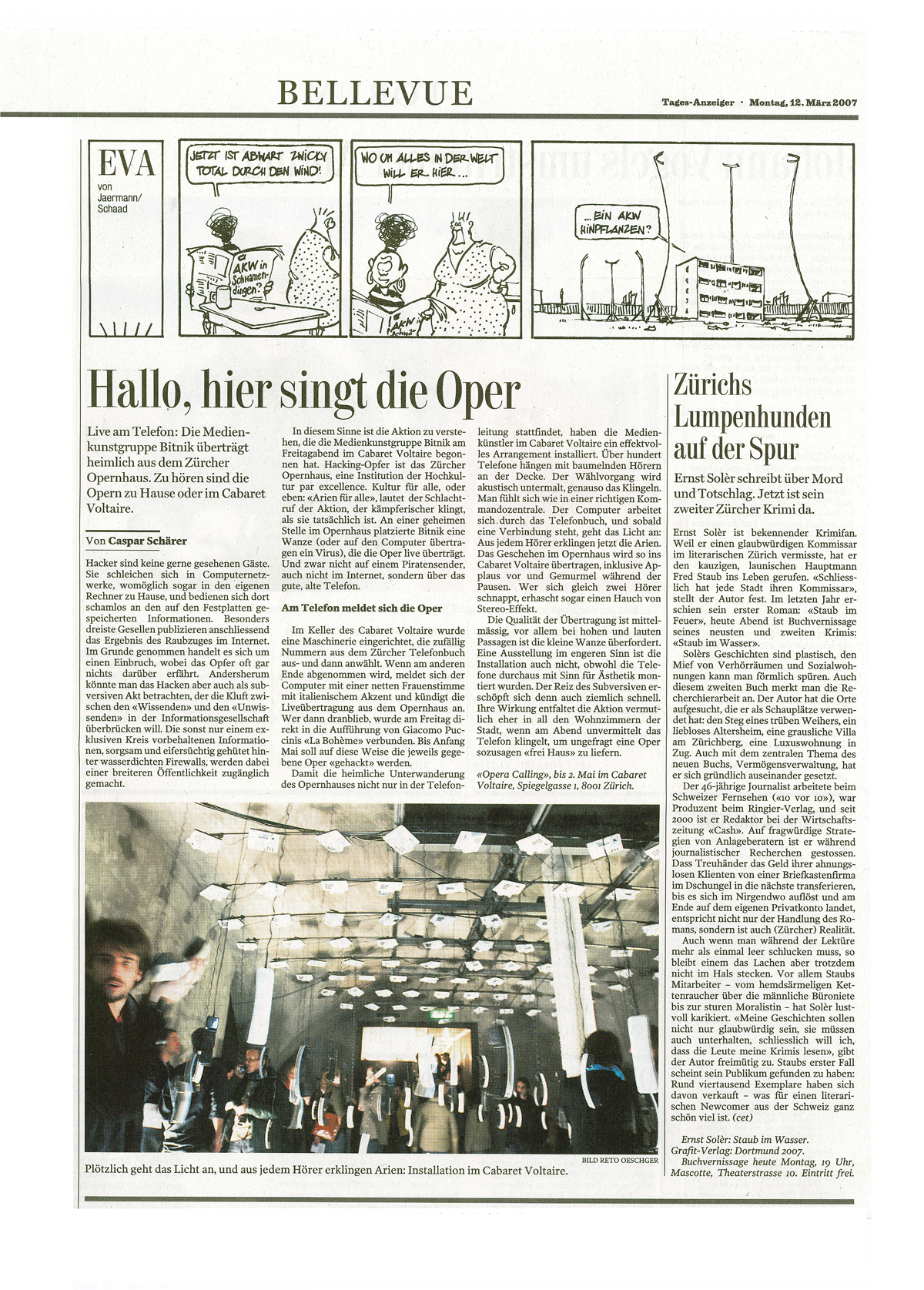 Scan of Tagesanzeiger Article on Opera Calling